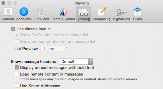 Mail Settings - Classic Layout